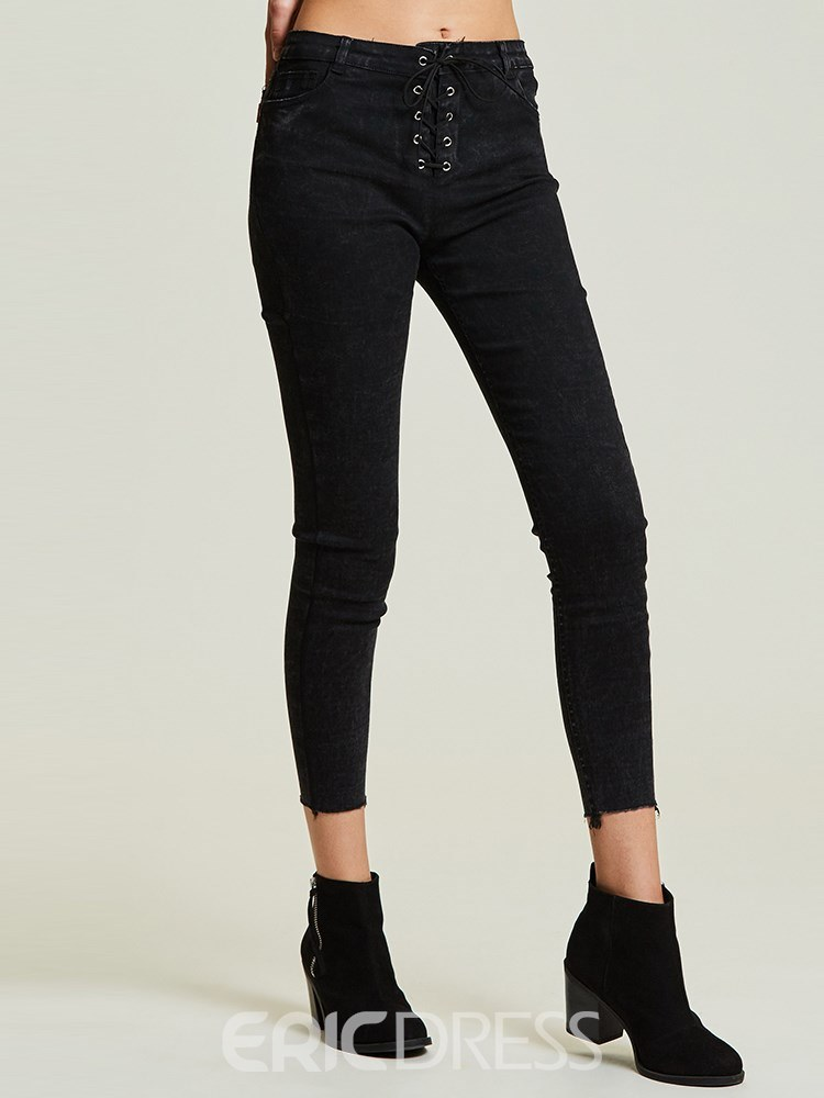 Slim High-Waist Full Length Lace-Up Women's Jeans