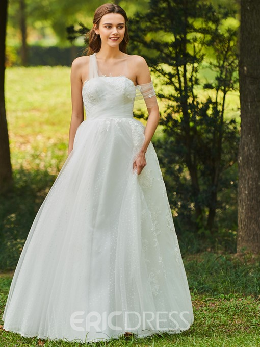 Ericdress One Shoulder Appliques Outdoor Wedding Dress