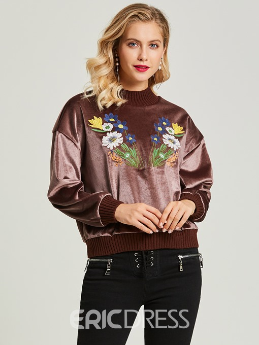 Ericdress Round Neck Floral Embroideried Pullover Women's Hoodie