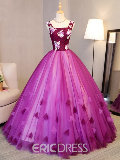 Ericdress Square Appliques Flowers Lace Quinceanera Dress
