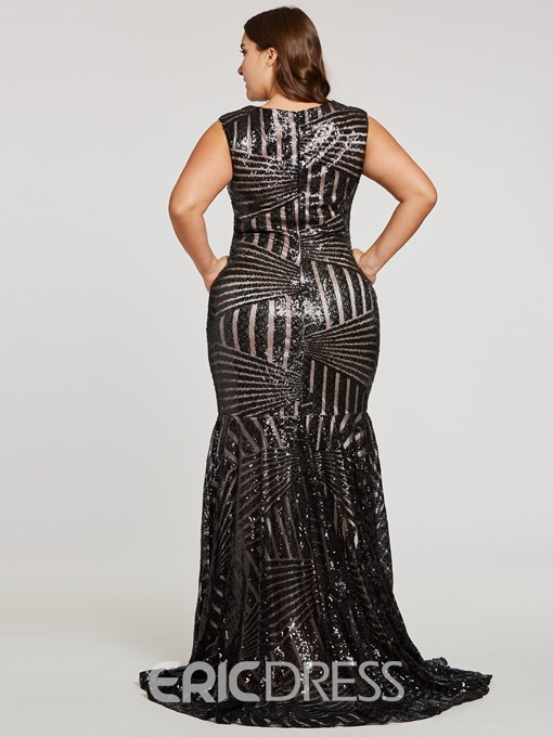 Ericdress Sequins Mermaid Plus Size Evening Dress Without Sleeves