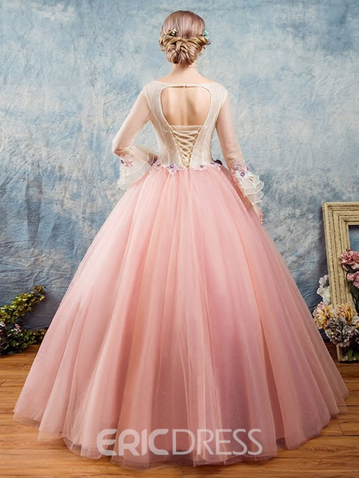 Ericdress Bateau Flowers Lace Trumpet Sleeves Quinceanera Dress