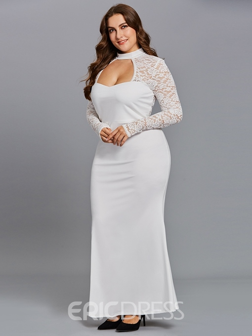 Ericdress Plus Size Floor-Length Hollow Long Sleeve Zipper Plain Dress