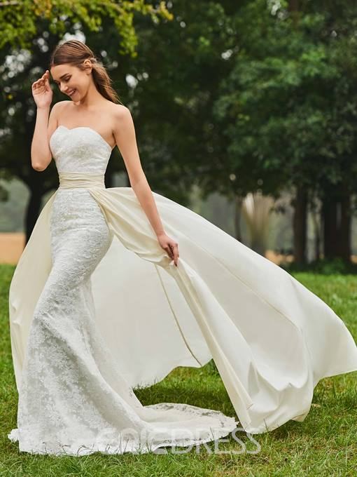 Ericdress Sweetheart Lace Mermaid Watteau Train Wedding Dress