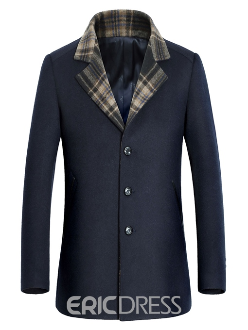 Ericdress Stand Collar Single-Breasted Long Sleeve Men's Wool Coat