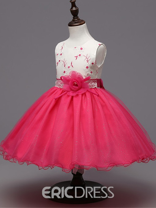 Ericdress Ball Gown Embroidery Tulle Flower Girl Party Dress