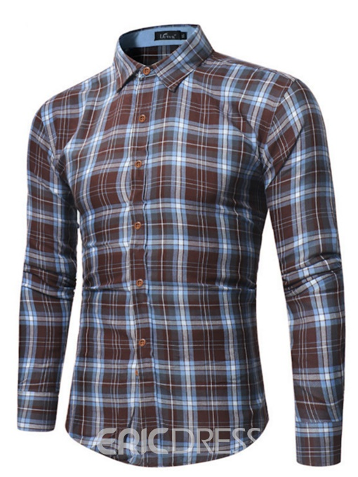 Ericdress Plaid Long Sleeve Mens Slim Fit Shirt