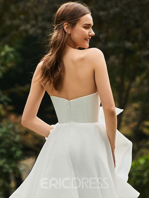 Ericdress Strapless Bowknot A Line Outdoor Wedding Dress
