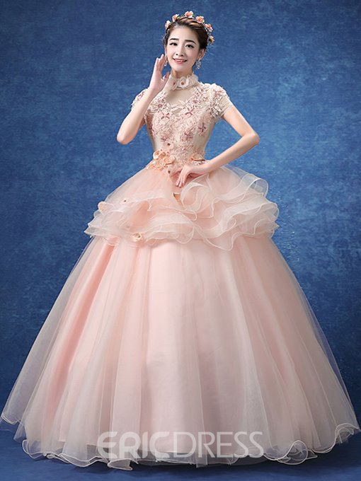 Ericdress Appliques Crystal Flowers Ruched Short Sleeves Quinceanera Dress