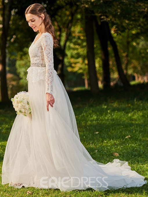Ericdress Lace Beading Long Sleeves Wedding Dress