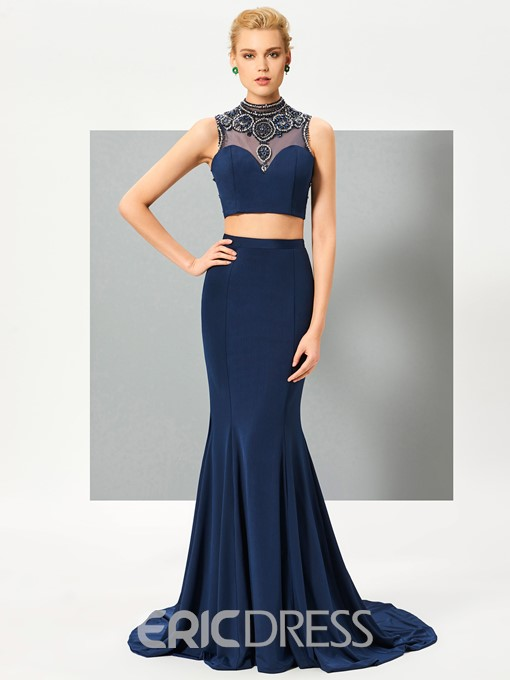 Ericdress Two Pieces High Neck Beading Button Back Court Train Mermaid Evening Dress