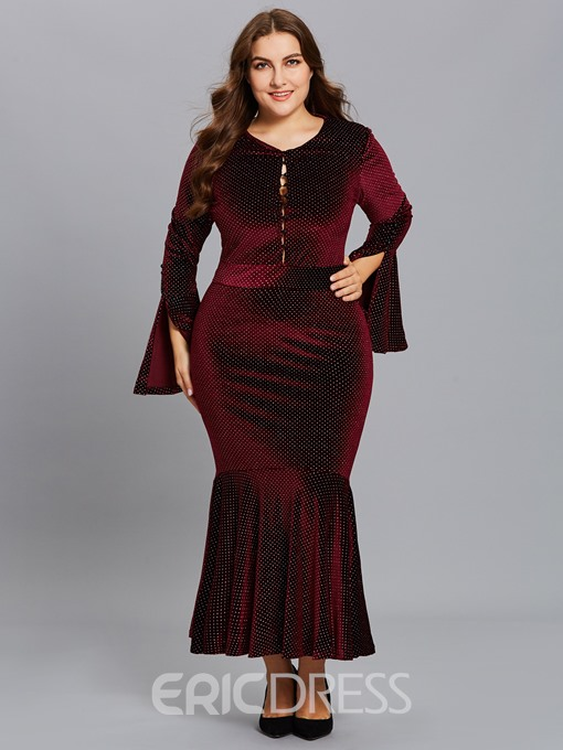Ericdress Plus Size V-Neck Pleated Long Sleeve Mermaid Polka Dots Dress