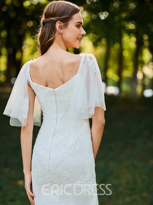 Ericdress Beading Lace Short Sleeves Wedding Dress