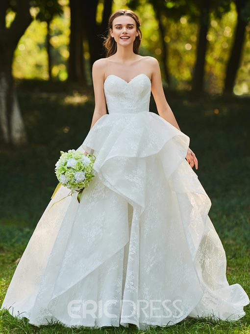 Ericdress Sweetheart Ball Gown Lace Wedding Dress