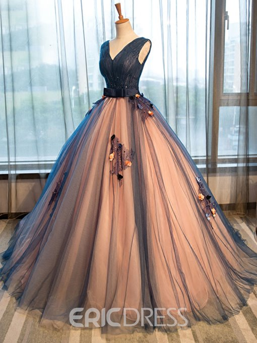 Ericdress Appliques Beading Bowknot Sashes V-Neck Quinceanera Dress