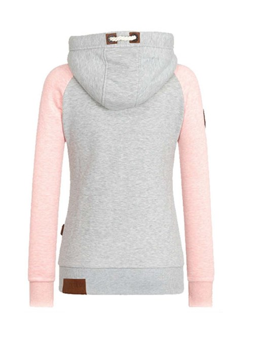 Women's Clothing Patchwork Color Block Turtleneck Cool Hoodie