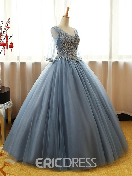 Ericdress V-Neck Beading Ball Long Sleeves Quinceanera Dress