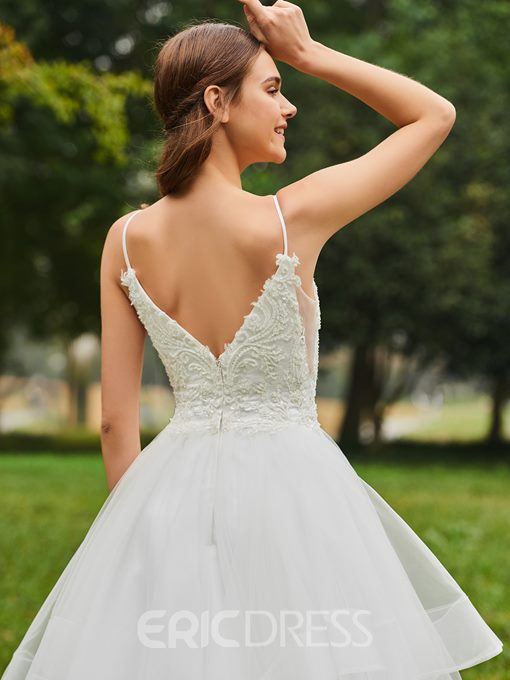 Ericdress Spaghetti Straps Ball Gown Appliques Wedding Dress