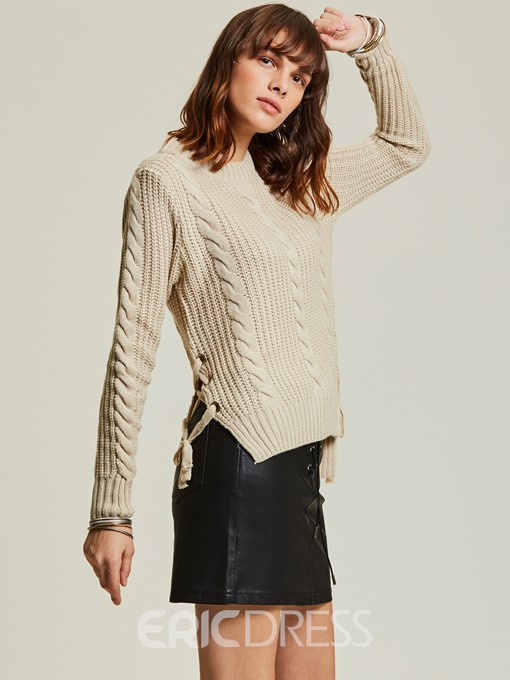 Ericdress Jacquard Weave Lace-Up Pullover Women's Sweater