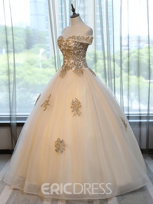 Ericdress Off-the-Shoulder Appliques Beading Short Sleeves Quinceanera Dress
