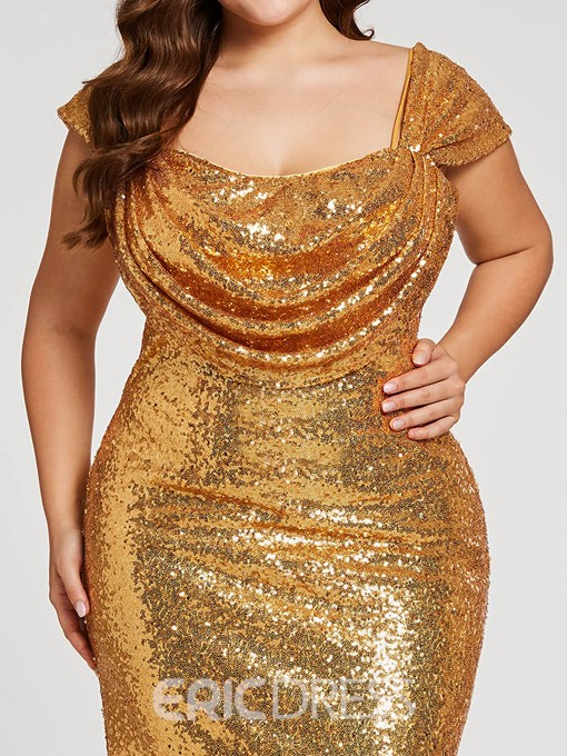 Ericdress Sequins Mermaid Plus Size Evening Dress With Cap Sleeves