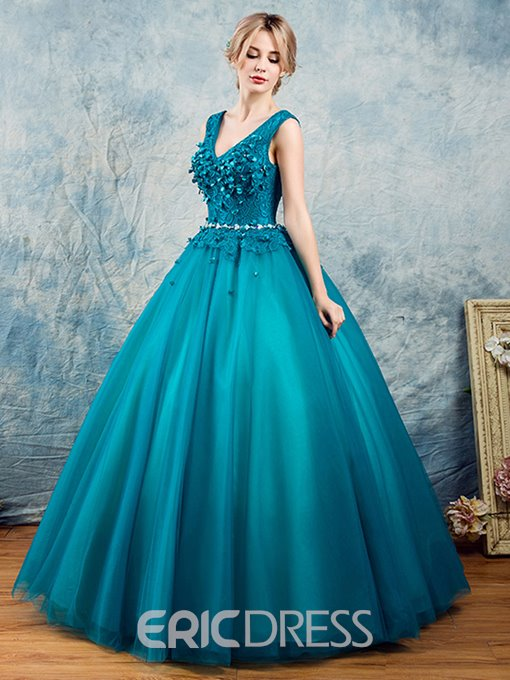 Ericdress V-Neck Beading Flowers Lace Quinceanera Dress
