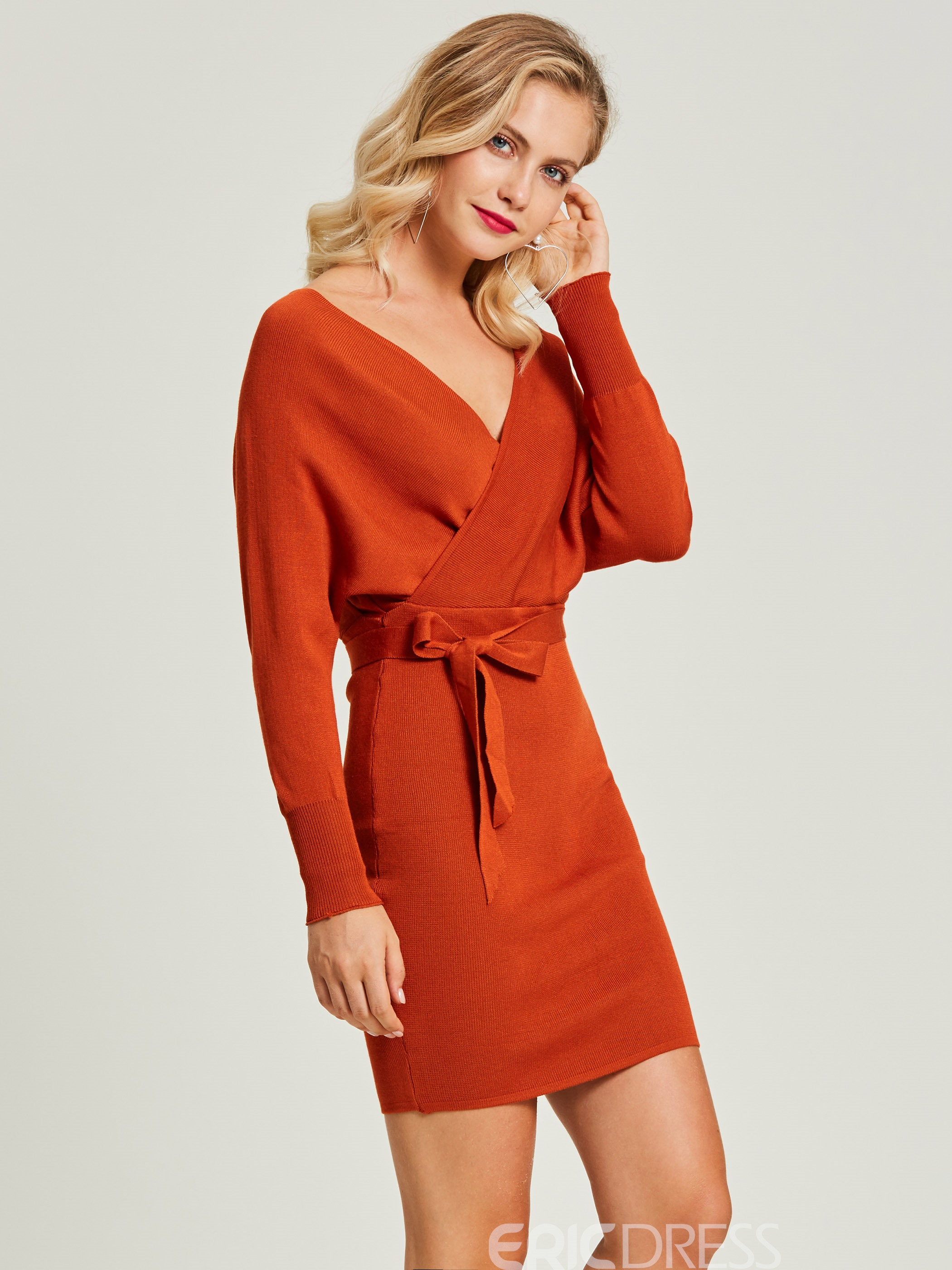 Ericdress V-Neck Batwing Sleeve Pullover Sweater Dress