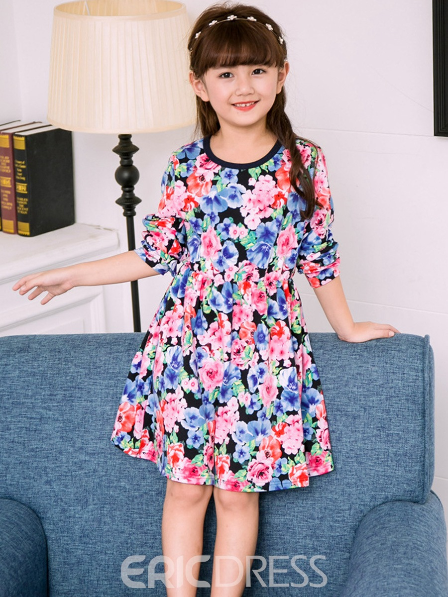Ericress Flower Print Round Neck Long Sleeve Girl's Dress