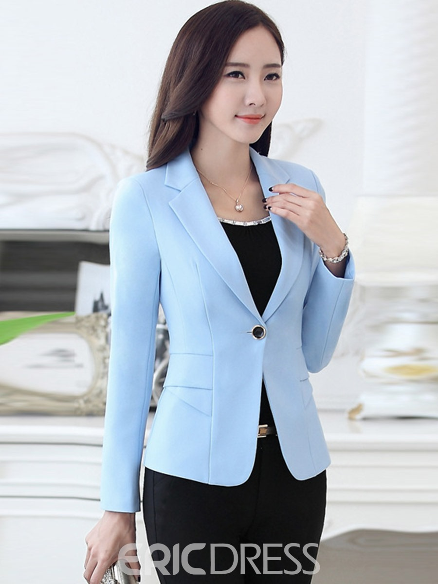 Ericdress Slim Plian One Button Blazer
