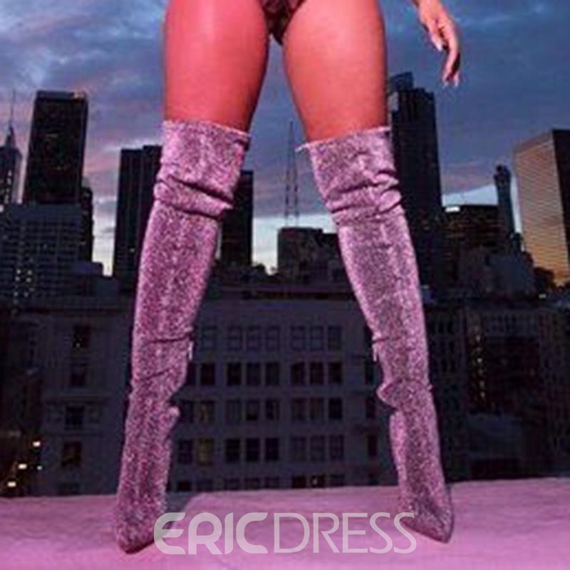 Ericdress Trendy Pointed Toe Plain Over-the-Knee Boots