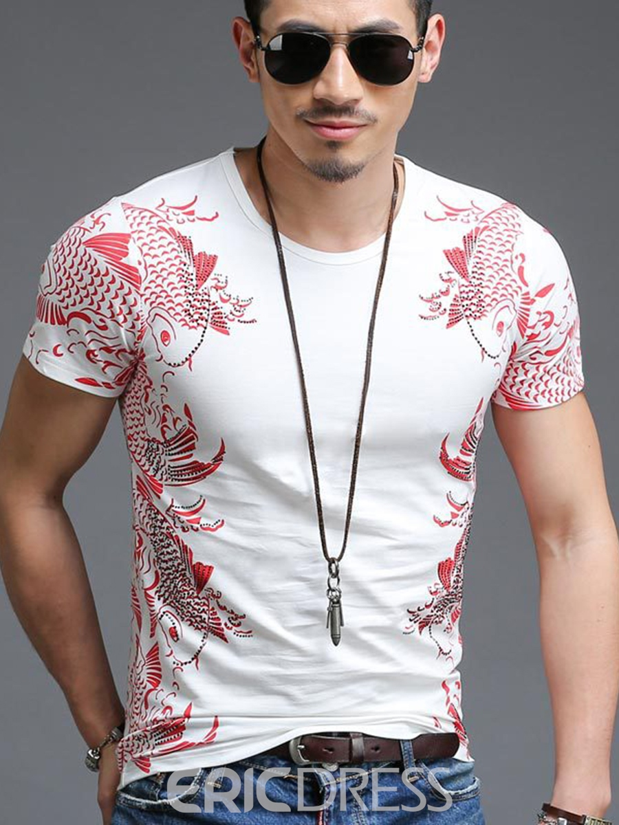 Ericdress Men's Scoop Print Slim Fit Short Sleeve T Shirt