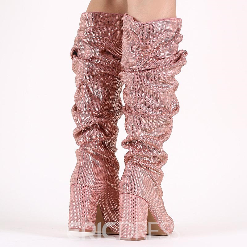 Ericdress Glitterring Pointed Toe Women's Knee High Slouchy Boots