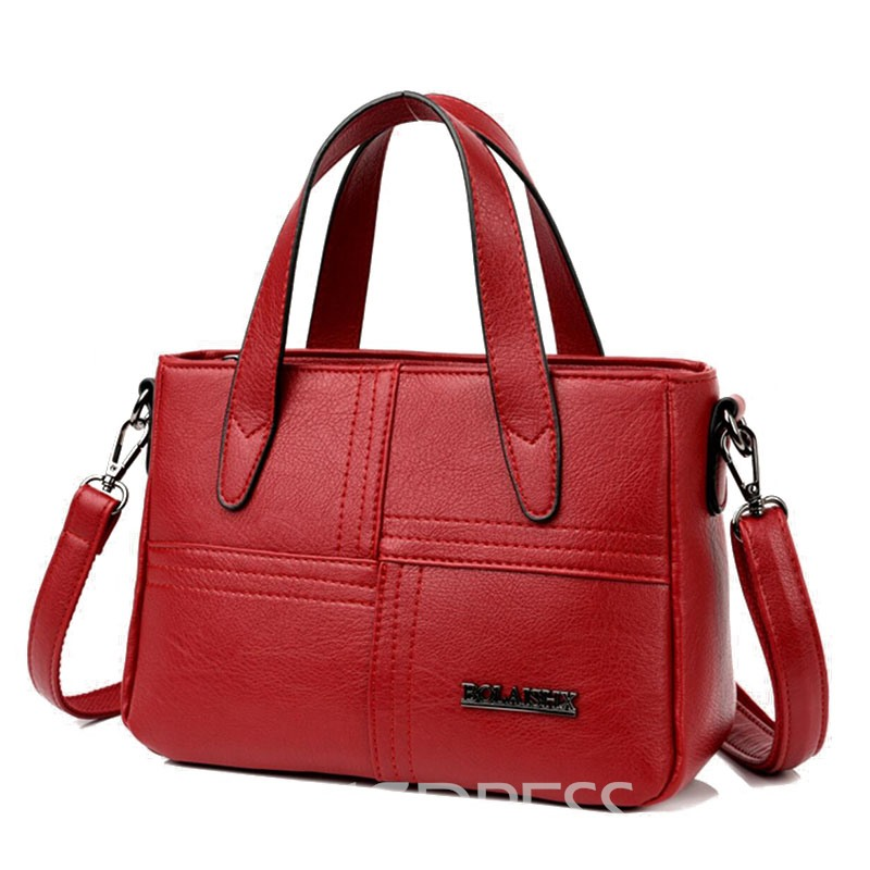 Ericdress Solid Color Zipper PU Men's Bag