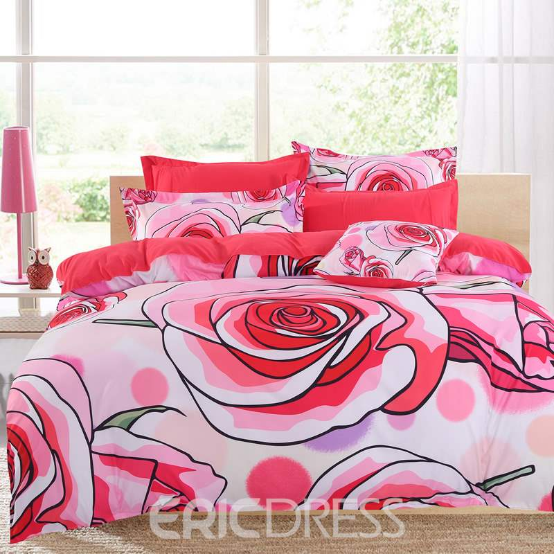 Adorila 60S Brocade Pastoralism Watermelon Red Roses Blooming Pattern 4-Piece Cotton Bedding Sets/Duvet Cover
