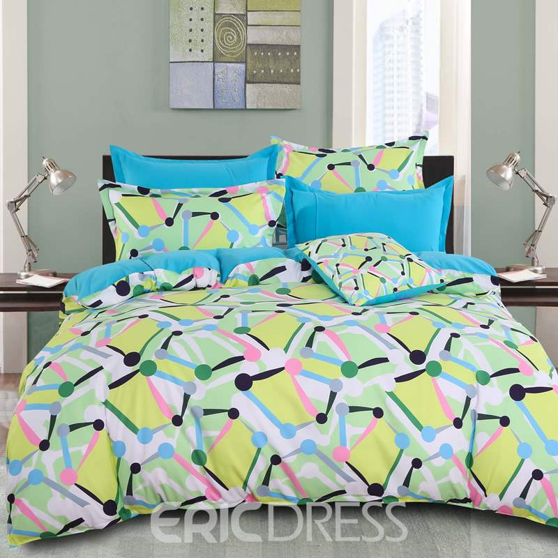 Adorila 60S Brocade Yellow Spotted Flashbulb Printed Modern Style Cotton 4-Piece Bedding Sets