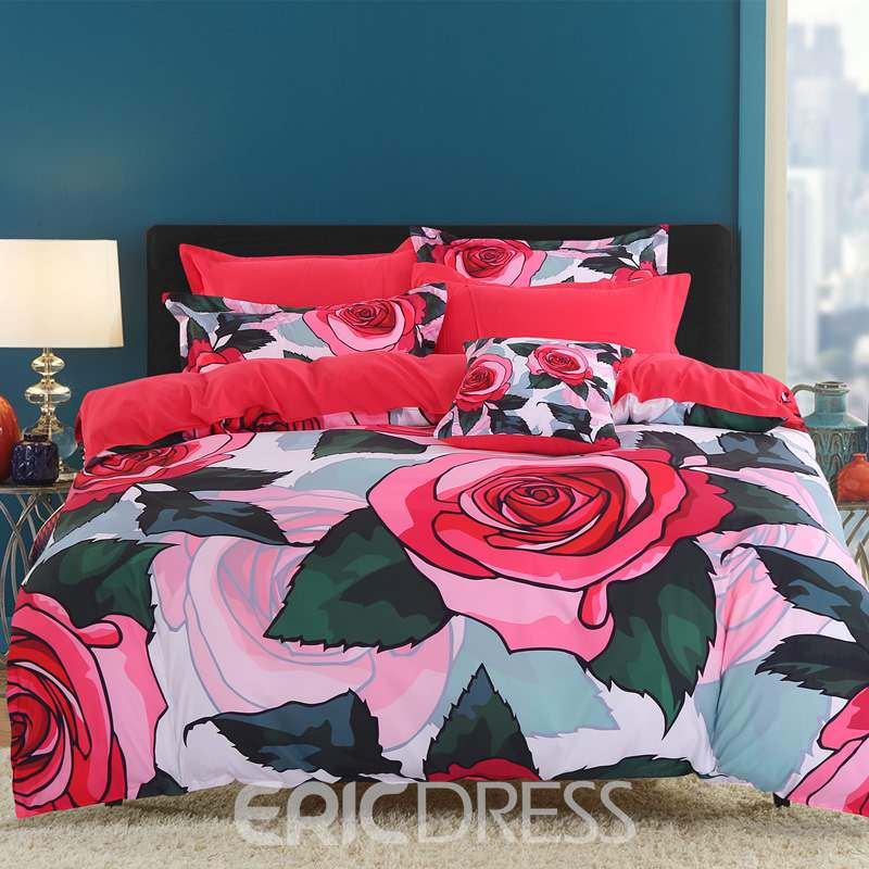 Adorila 60S Brocade Red Roses and Green Leaves Pattern 4-Piece Cotton Bedding Sets