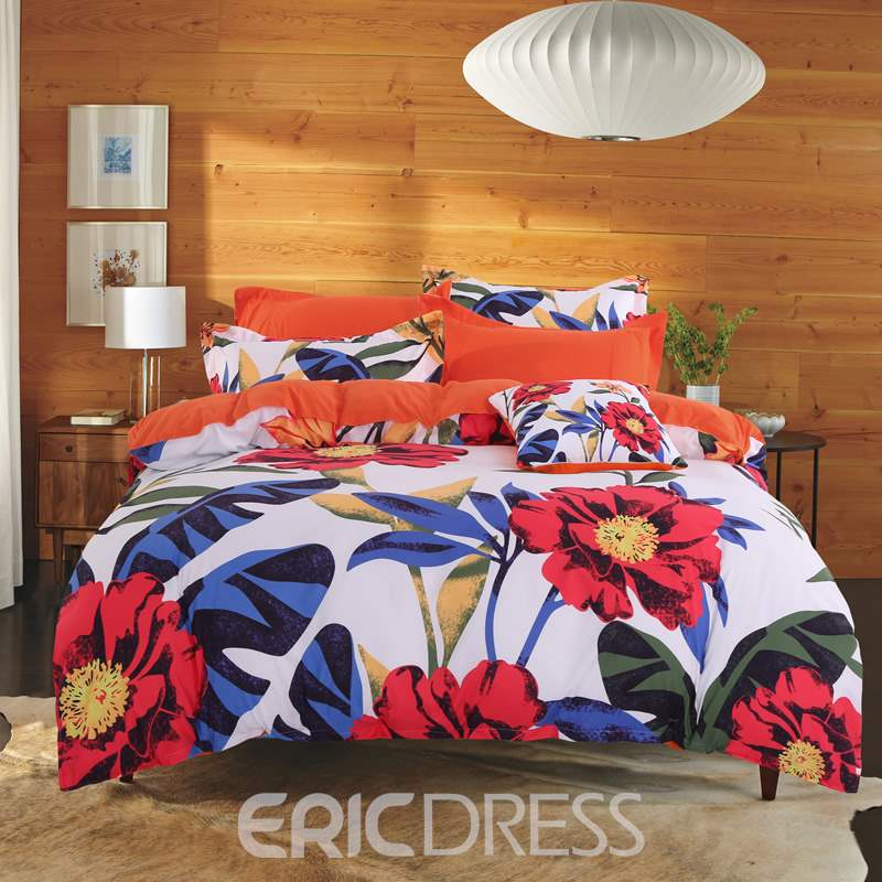 Adorila 60S Brocade Orange Cosmos Flowers Pastoral Style Cotton 4-Piece Bedding Sets