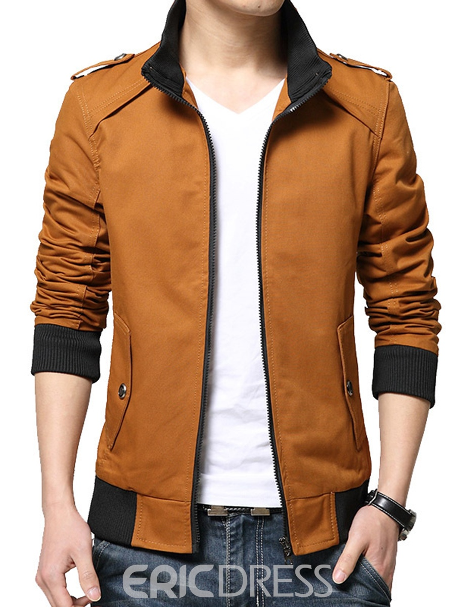 Ericdress Stand Collar Slim Zipper Men's Short Jacket