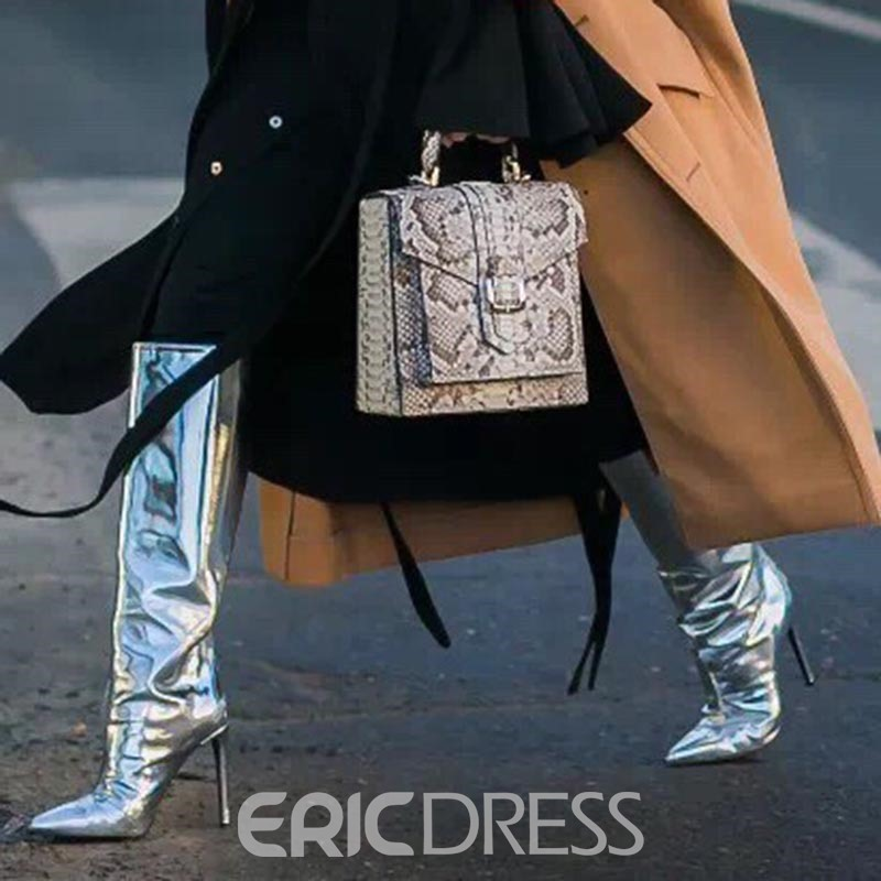 Ericdress Silver Slip-On Stiletto Heel Knee High Boots