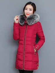 Ericdress Plain Fur Hooded Mid-Length Down Coat