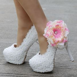 Ericdress Floral Slip-On Platform Stiletto Heel Wedding Shoes