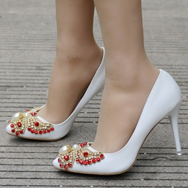 Ericdress Rhinestone&Beads Plain Stiletto Heel Wedding Shoes