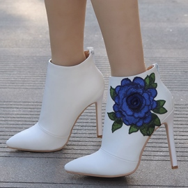 Ericdress Floral Embroidery Pointed Toe Stiletto Heel Wedding Boots