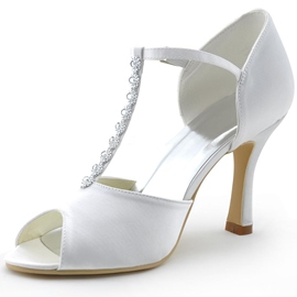 Ericdress Rhinestone T-Shaped Buckle Chunky Heel Wedding Shoes