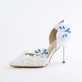 Ericdress Floral Appliques Pointed Toe Stiletto Heel Wedding Shoes