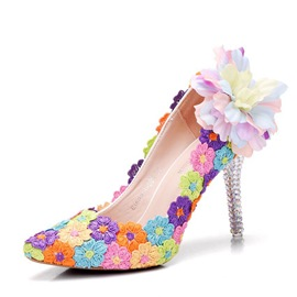 Ericdress Floral Color Block Stiletto Heel Wedding Shoes