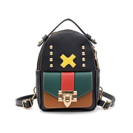 Ericdresss Personality Design PU Zipper Backpack
