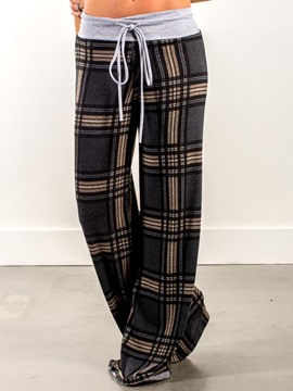 Ericdress Loose Plaid Palazzo Lace-Up Women's Pants