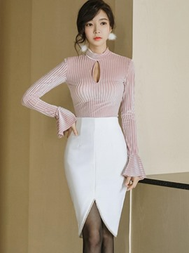 Ericdress Flare Sleeve T-Shirt Women's Skirt Suit