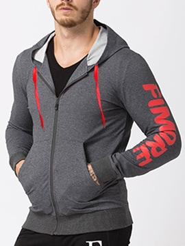 Ericdress Hooded Letter print Slim Men's Cardigan Hoodie